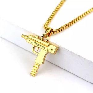 Supreme uzi gold plated chain necklace